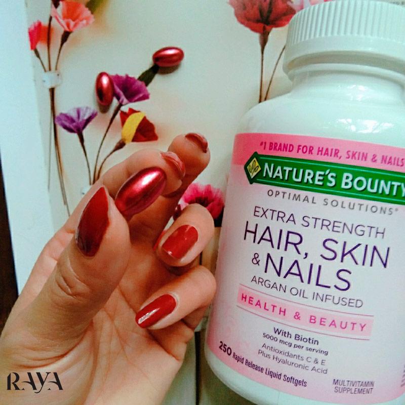 کپسول تقویت کننده مو، پوست و ناخن اوپتیمال سلوشن نیچرز بونتی حاوی 150 کپسول Nature's Bounty Optimal Solutions Extra Strength Hair, Skin & Nails
